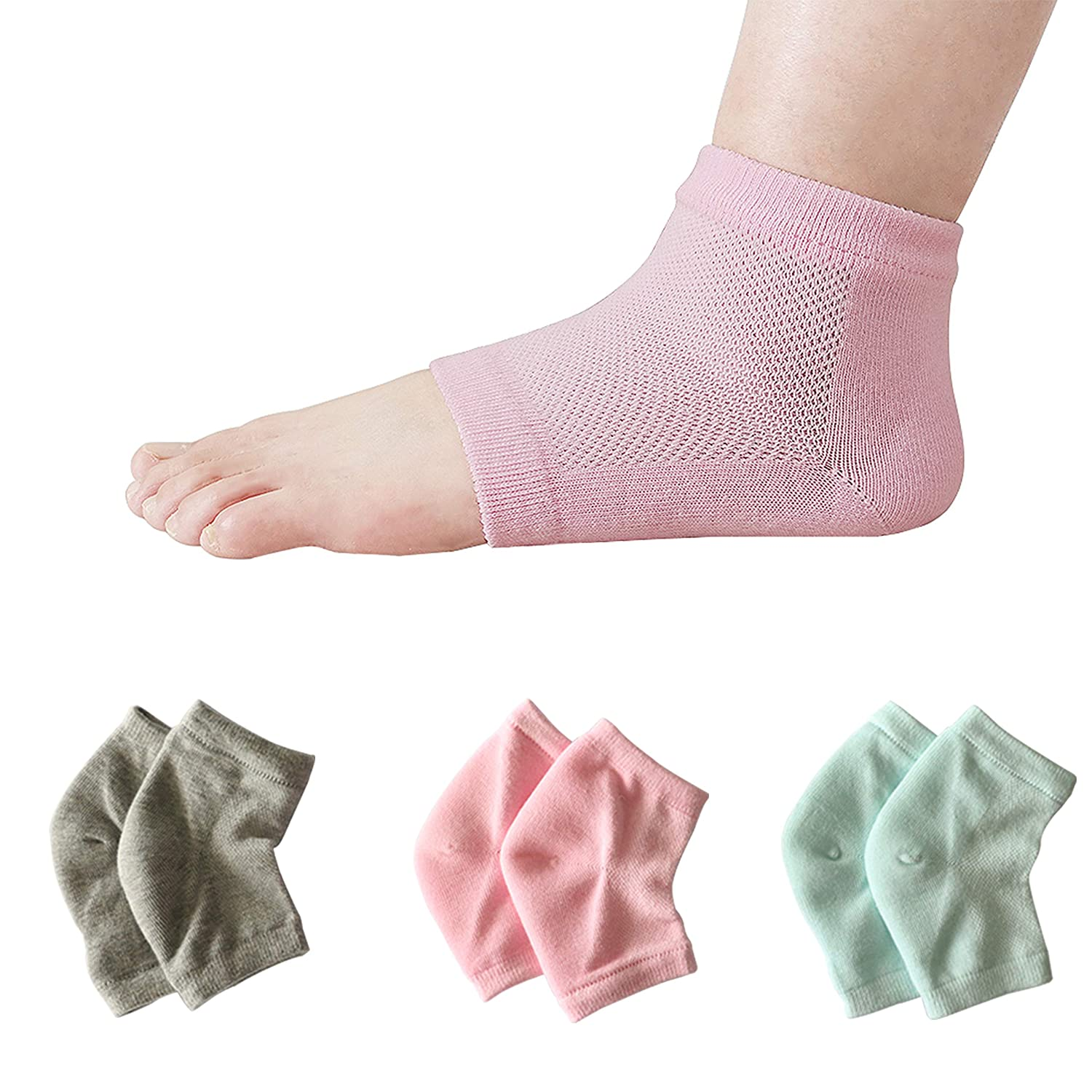 Vented Moisturizing Gel Heel Socks, Smeala Day Night Open Care Toed Breathable Recovery Cotton Socks, Silicone Gel to Heal Dry Cracked Heels and Soften Repair Feet (3 Pairs)