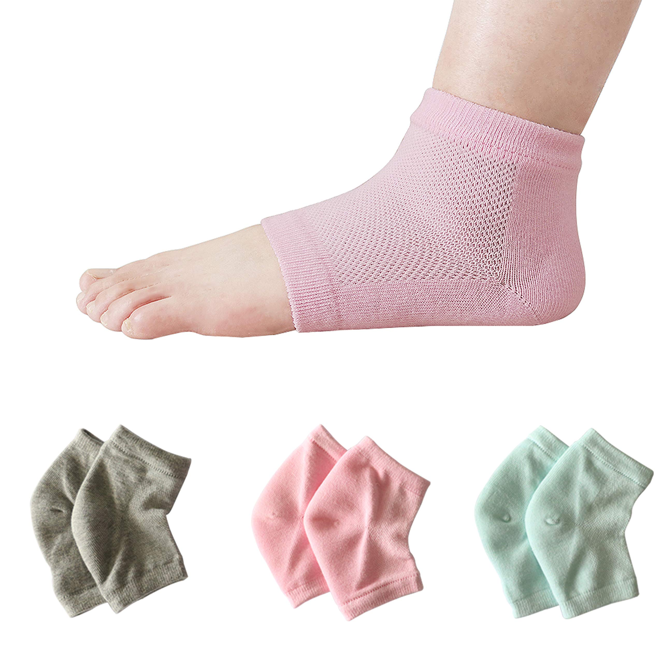3 pairs Vented Moisturizing Heel Socks, Smeala Day Night Open Care Toed Breathable Recovery Cotton Socks, Silicone Gel to Heal Dry Cracked Heels and Repair Feet