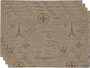 Paris Themed Fabric Placemats   4 Table Placemat Set with Fleur De Lis, Eiffel Tower, France, French Crown, Patisserie, Vintage Stamp, Airmail Print   13 x 19 Inch, 100% Cotton, Washable Cloth Mats