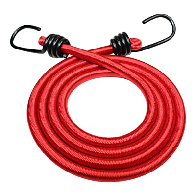 Bungee Cord with Hooks (3/8 in 4-Pack) - SGT KNOTS - Marine Grade Bungee Cords with 2 Hooks - Heavy Duty Bungie - Bunji Cord Straps - Bungees for Bikes, Tie Downs, Camping, Cars (48 in - Red)