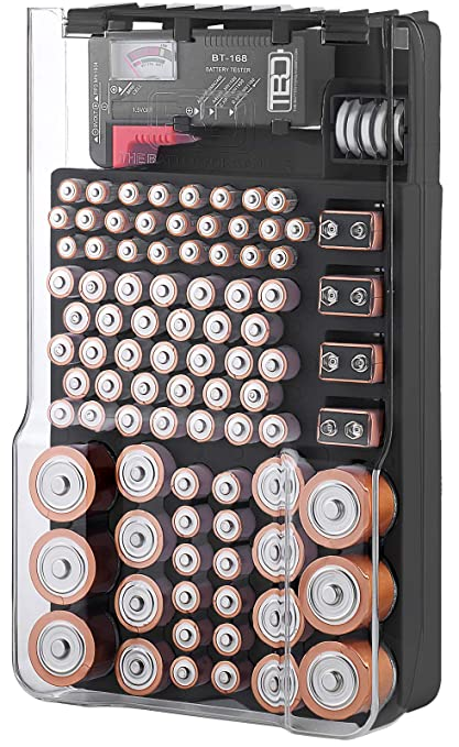 online store 074bd 73ce0 The Battery Organizer TBO1531 The Batt Storage Case with Hinged Clear  Cover, Includes a Removable Tester, Holds 93 Batteries Various Sizes, Black