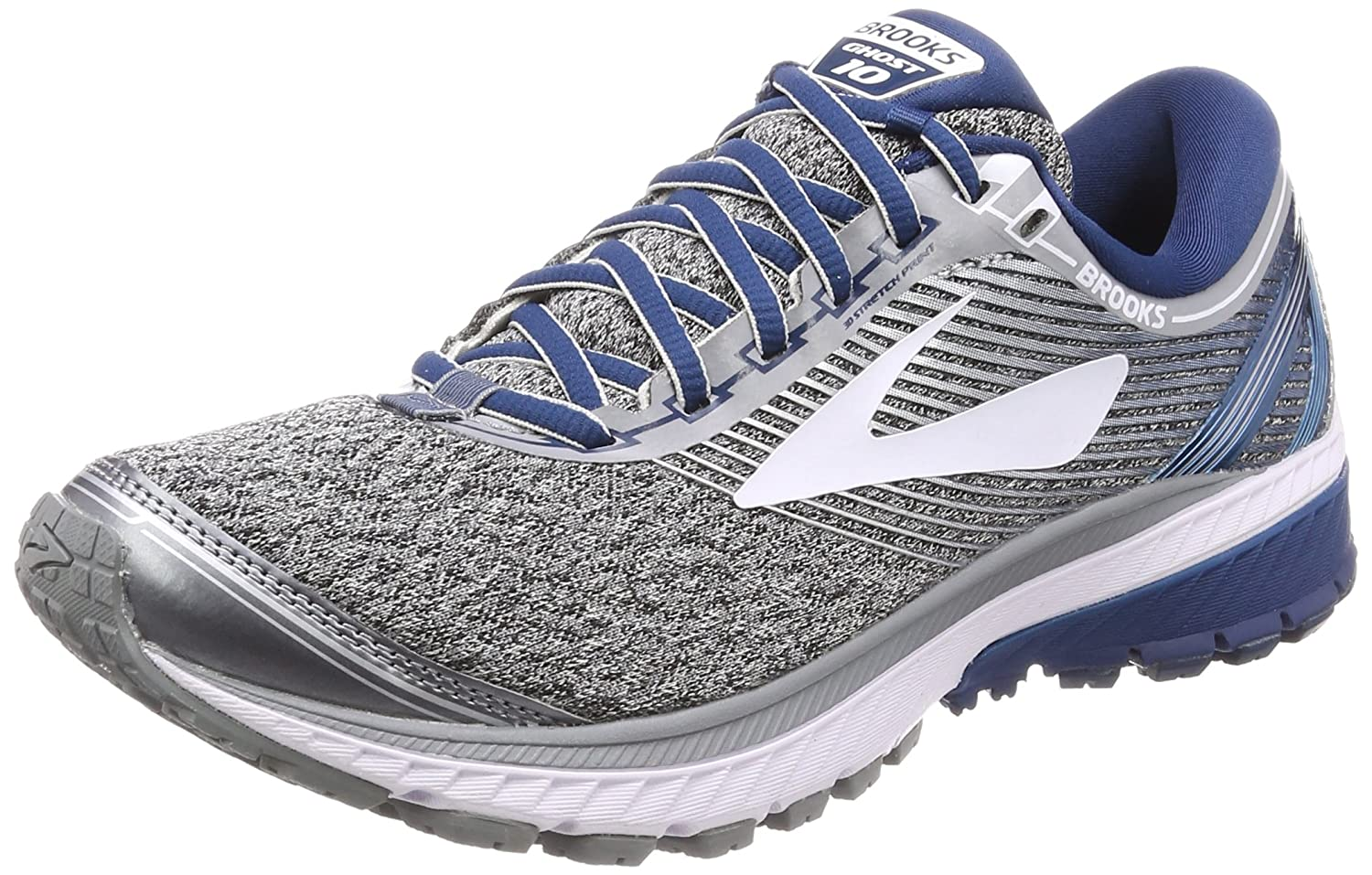 Brooks Ghost 10, Zapatillas de Running para Hombre 41 EU|Gris (Silver/Blue/White 1d013)