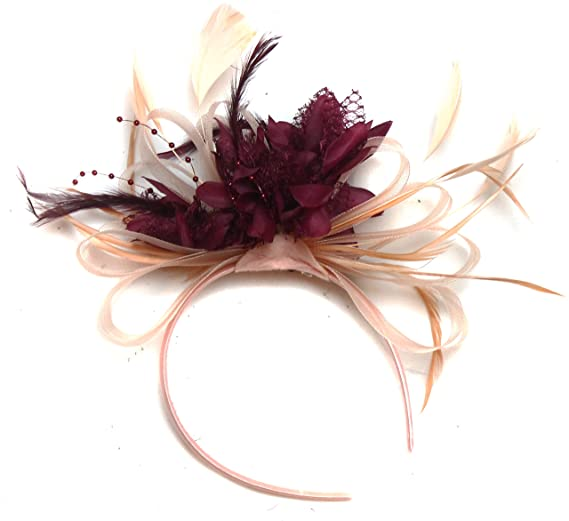 7c4e71d9 Nude Salmon and Burgundy Wine Dark Red Feather Hair Fascinator ...