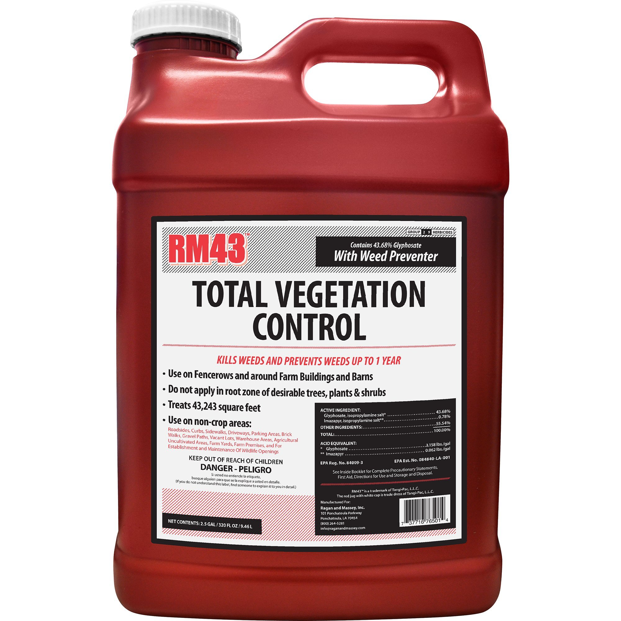 RM43 43-Percent Glyphosate Plus Weed Preventer Total Vegetation Control, 2.5-Gallon by RM43