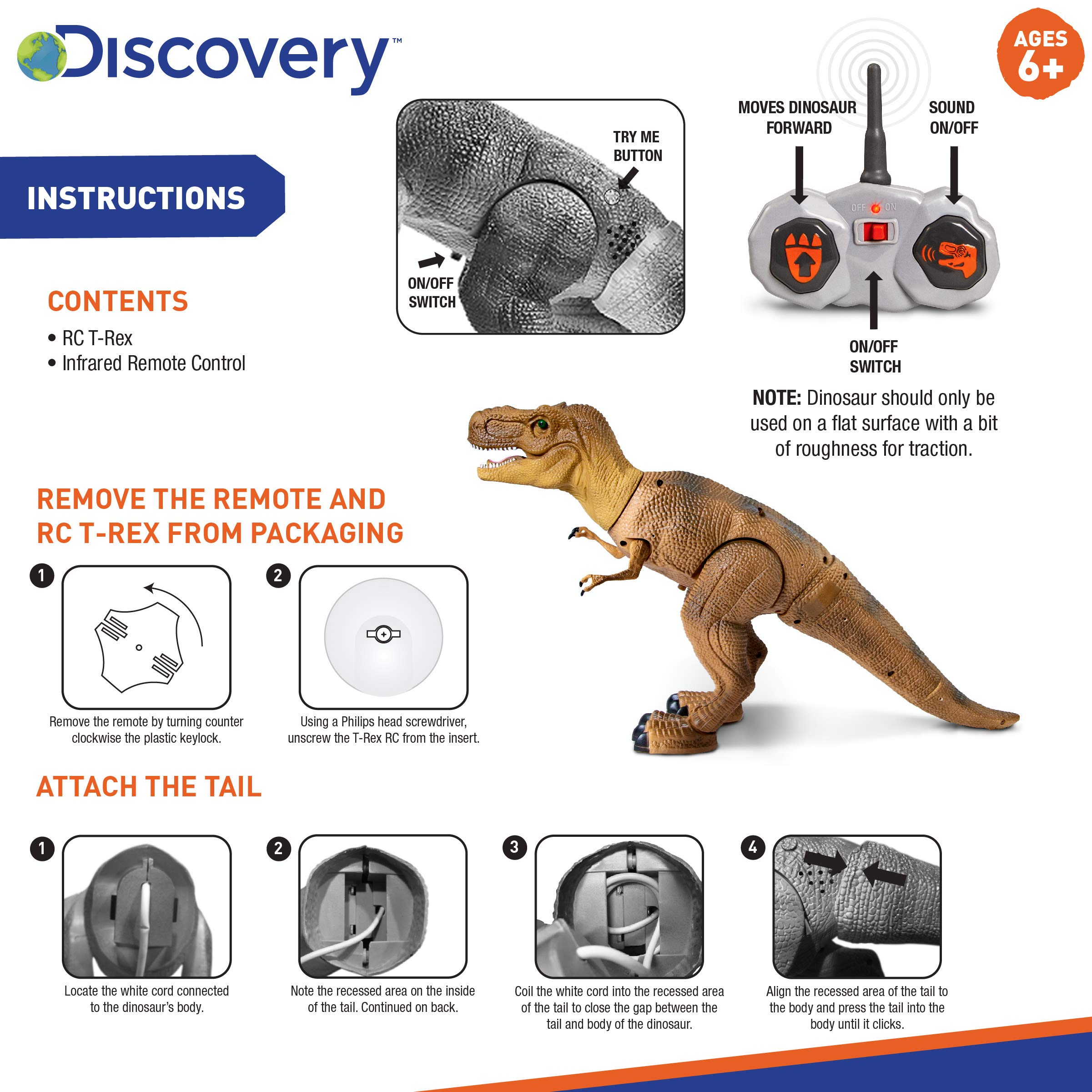 Discovery Kids Remote Control RC T Rex Dinosaur Electronic Toy Action Figure Moving & Walking Robot w/Roaring Sounds & Chomping Mouth, Realistic Plastic Model, Boys & Girls 6 Years Old+ by Discovery Kids (Image #7)