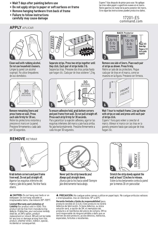 Command Bandes de fixation pour cadre-photos Chaque paire supporte jusqu/à 900 g 70 mm x 19 mm 9 Packs de 3 paires Import Royaume Uni