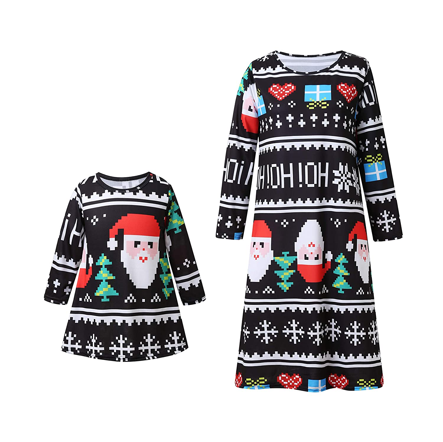Macthing Mamma e figlia Christmas Dress Manica lunga Babbo Natale Albero stampato Party Outfit shiningup