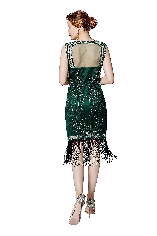 Metme Damen 1920er Jahre Sexy V Ausschnitt Perlen Fransen Great ...
