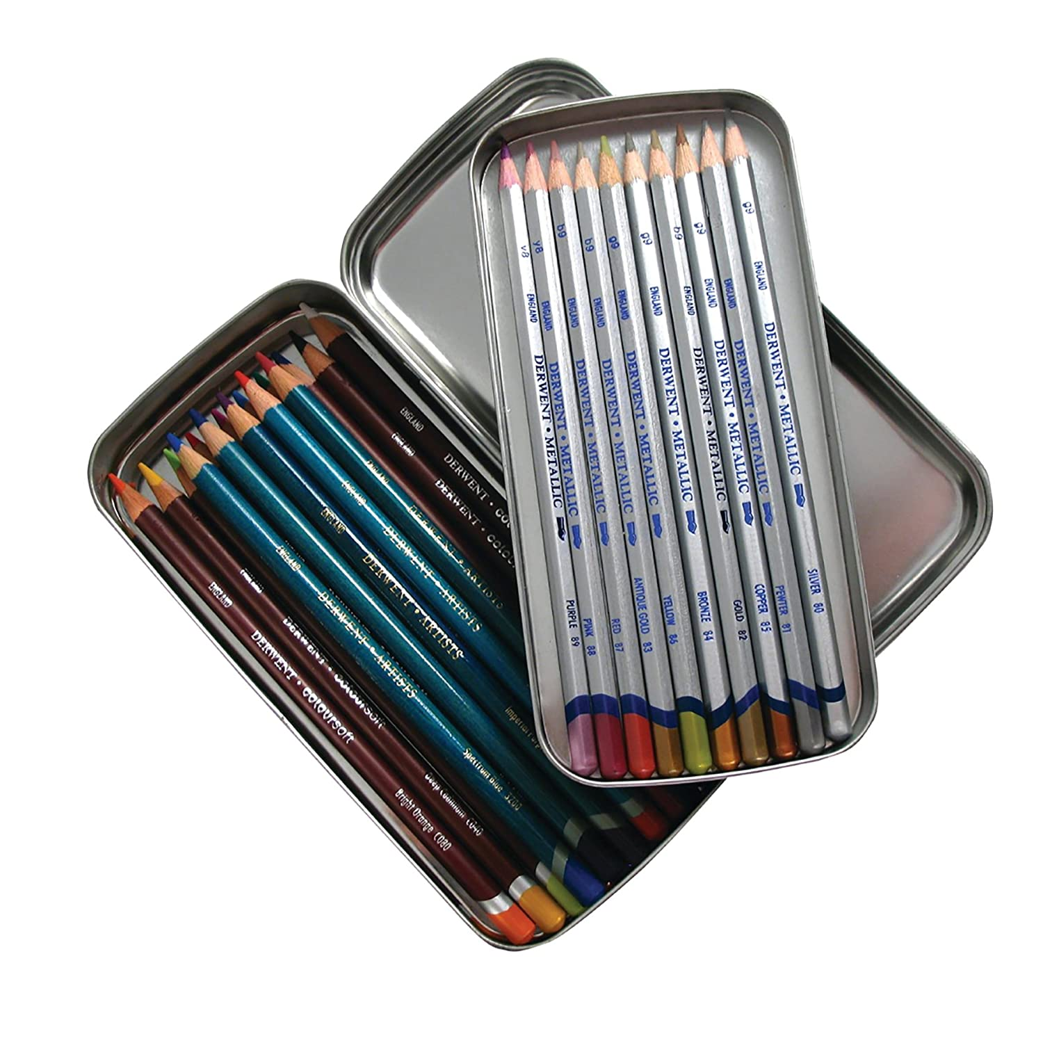 Derwent 2300582 Pencil Tin, Double Layered Storage with Removable Inner Tray, Professional Quality, 2300582 ACCO