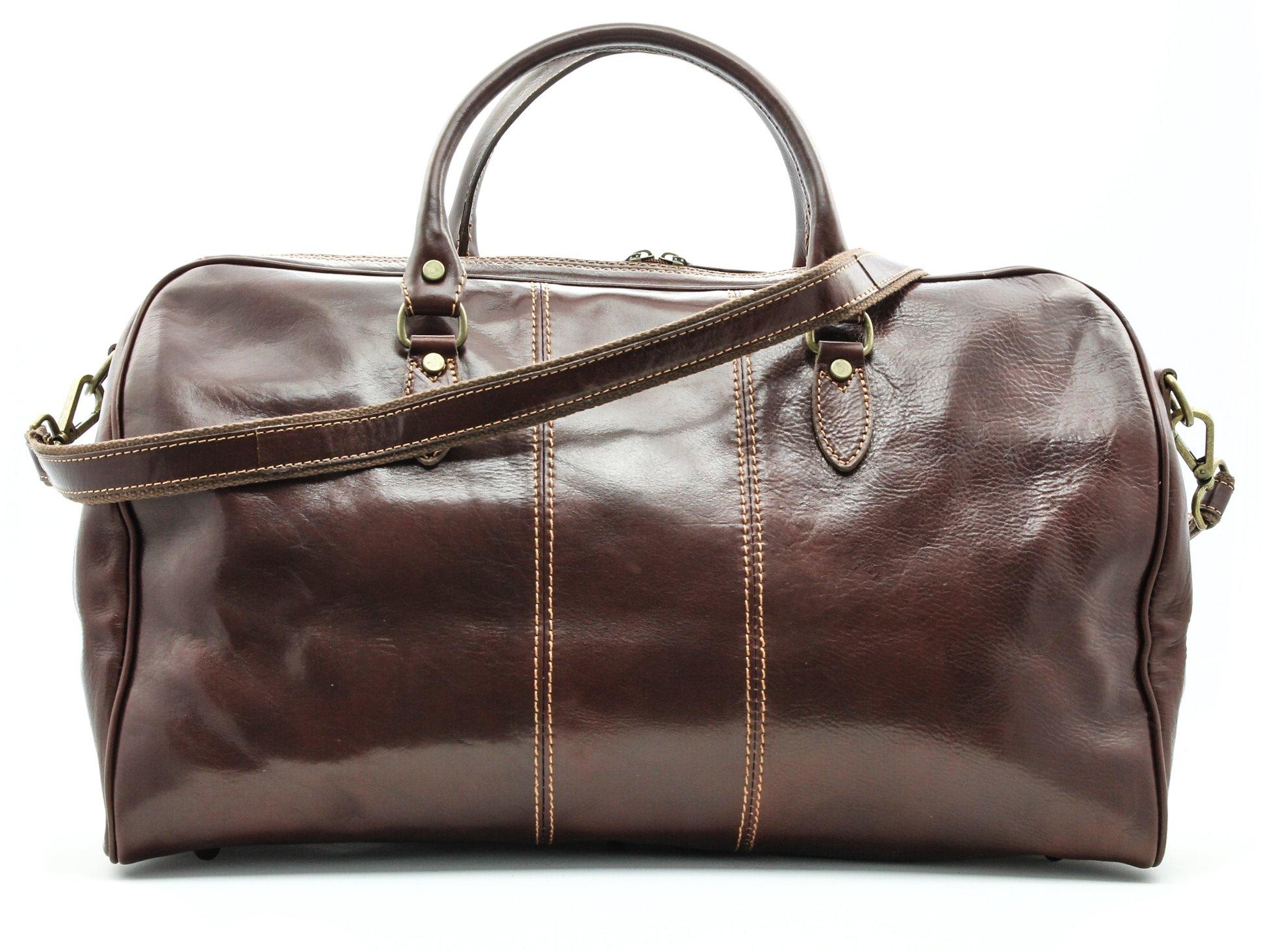 Alberto Bellucci Unisex Italian Leather Verona Full Zip Around Traveler Duffel Bag in Brown
