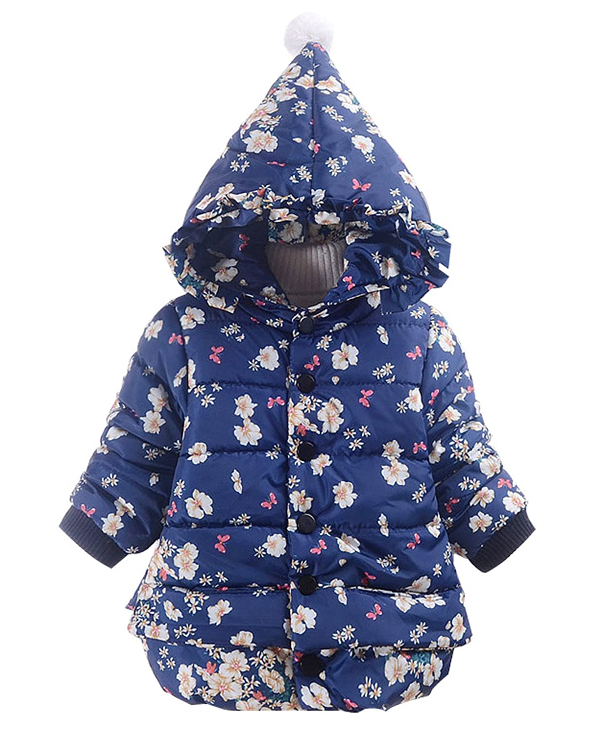 Baby Girls Floral Print Toddler Winter Cotton Padded Jacket Kids Hooded Outwear Coat