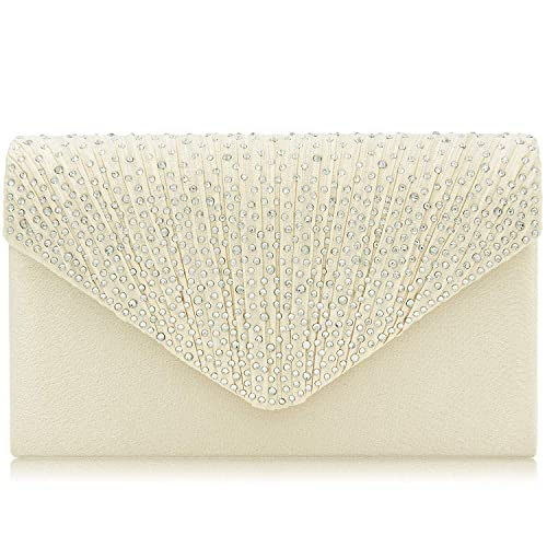 efba53832823 Women Evening Bag Envelope Rhinestone Frosted Clutches Party Bridal Clutch  Purse (Beige)