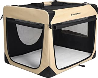 SONGMICS Soft Sided Dog Crate Pen Kennel Foldable Pet House with Self-locking Zipper Mesh Panel