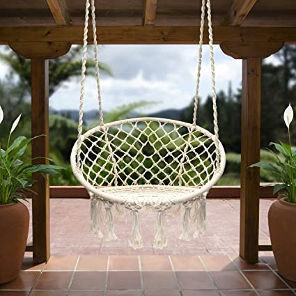 Hanging Hammock Chair Porch Macrame Swing Chairs Patio Deck Furniture 265  Pound Capacity Outdoor Swinging Seat