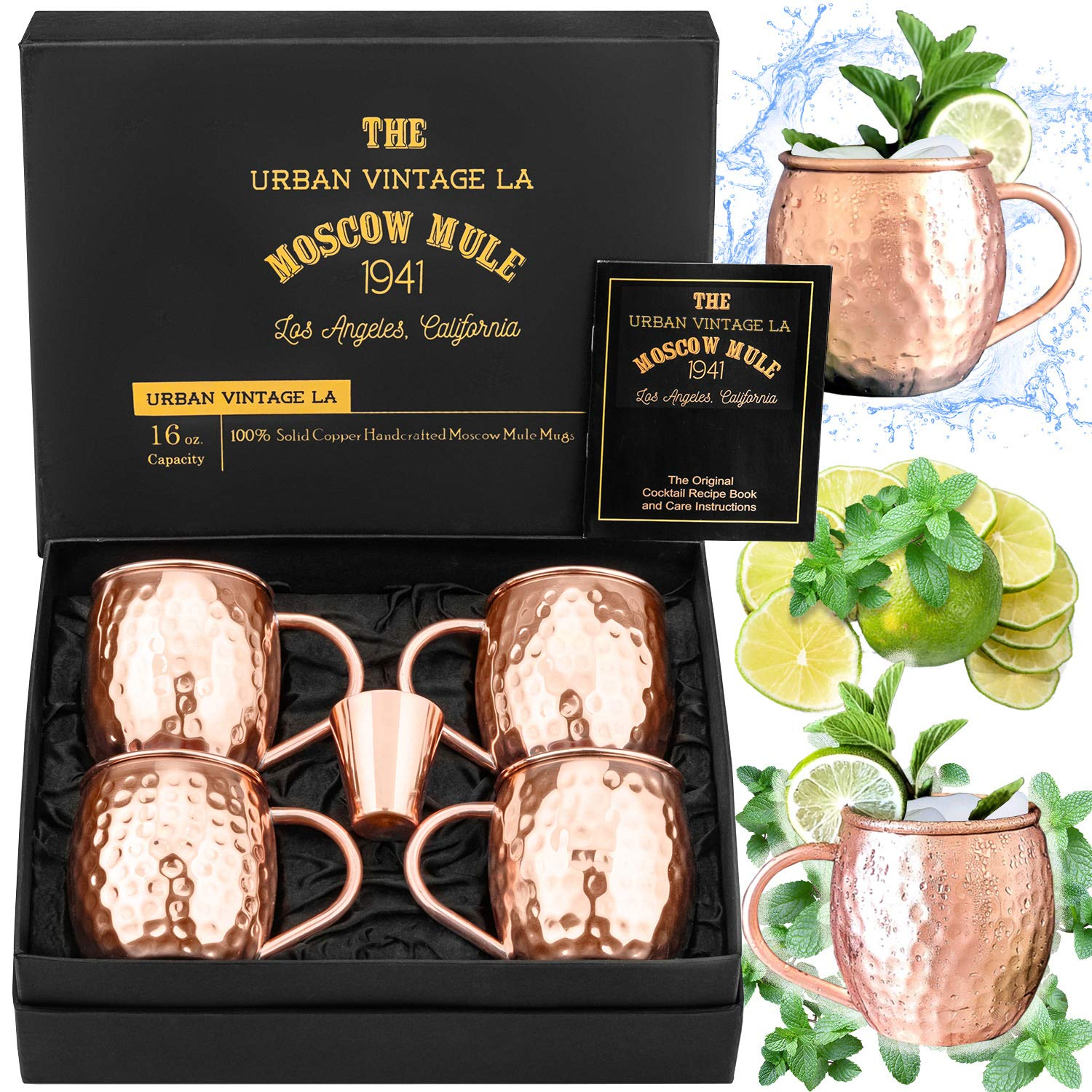 Moscow Mule Copper Mugs Set of 4 with Shot Glass & Recipe Book in Large Gift Box, Premium Handcrafted Food-Safe Hammered 16 oz Real Copper Cups for Moscow Mules, Solid Copper Luxury Gift Set by Urban Vintage LA