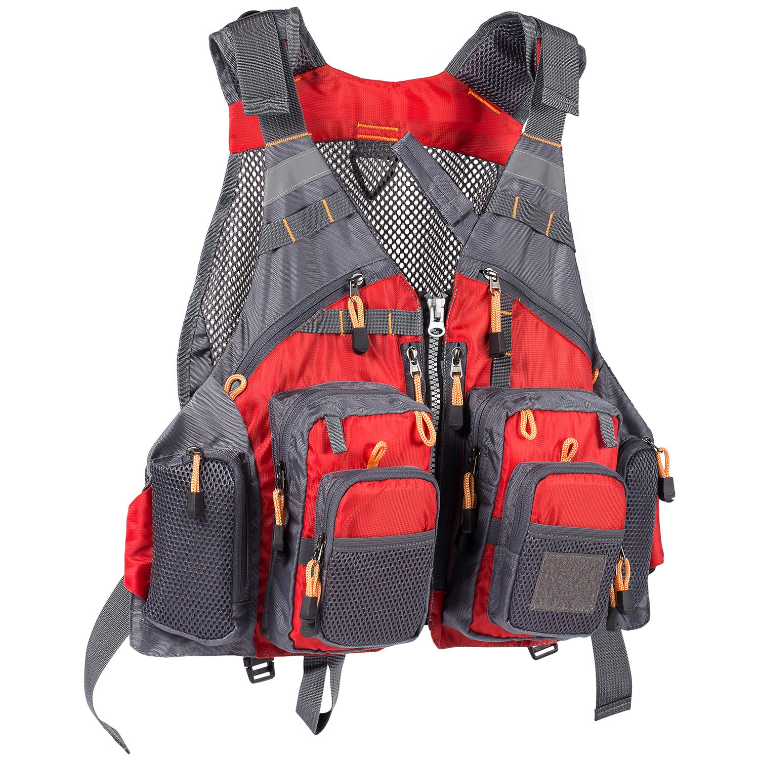 Bassdash Strap Fishing Vest Adjustable for Men and Women, for Fly Bass Fishing and Outdoor Activities Red