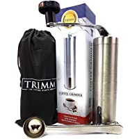 Single Serve, Travel Size, Manual Coffee Grinders | Portable, Stainless Steel Coffee Bean Grinder Set | Hand Crank Coffee and Espresso Grinder with Measuring Spoon and Cleaning Brush | Coffee by Trimm