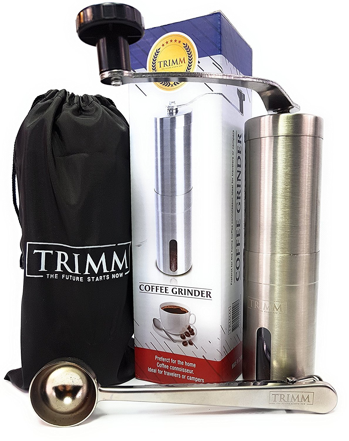 Trimm Burr Coffee Grinder | Manual Coffee Grinder | Conical Burr Mill Brushed Stainless Steel | For French press Espresso Grinder with Measuring Spoon and Cleaning Brush | Spices Burr Grinder
