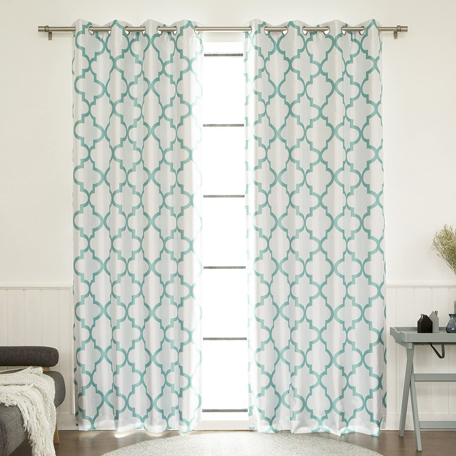 """Best Home Fashion Closeout Reverse Moroccan Faux Silk Blackout Curtain - Stainless Steel Nickel Grommet Top - Sky Blue - 52"""" W X 84"""" L - (1 Panel)"""