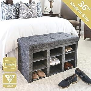 Seville Classics WEB591 9-Bin Foldable Tufted Shoe Storage Ottoman, Single, Charcoal Gray