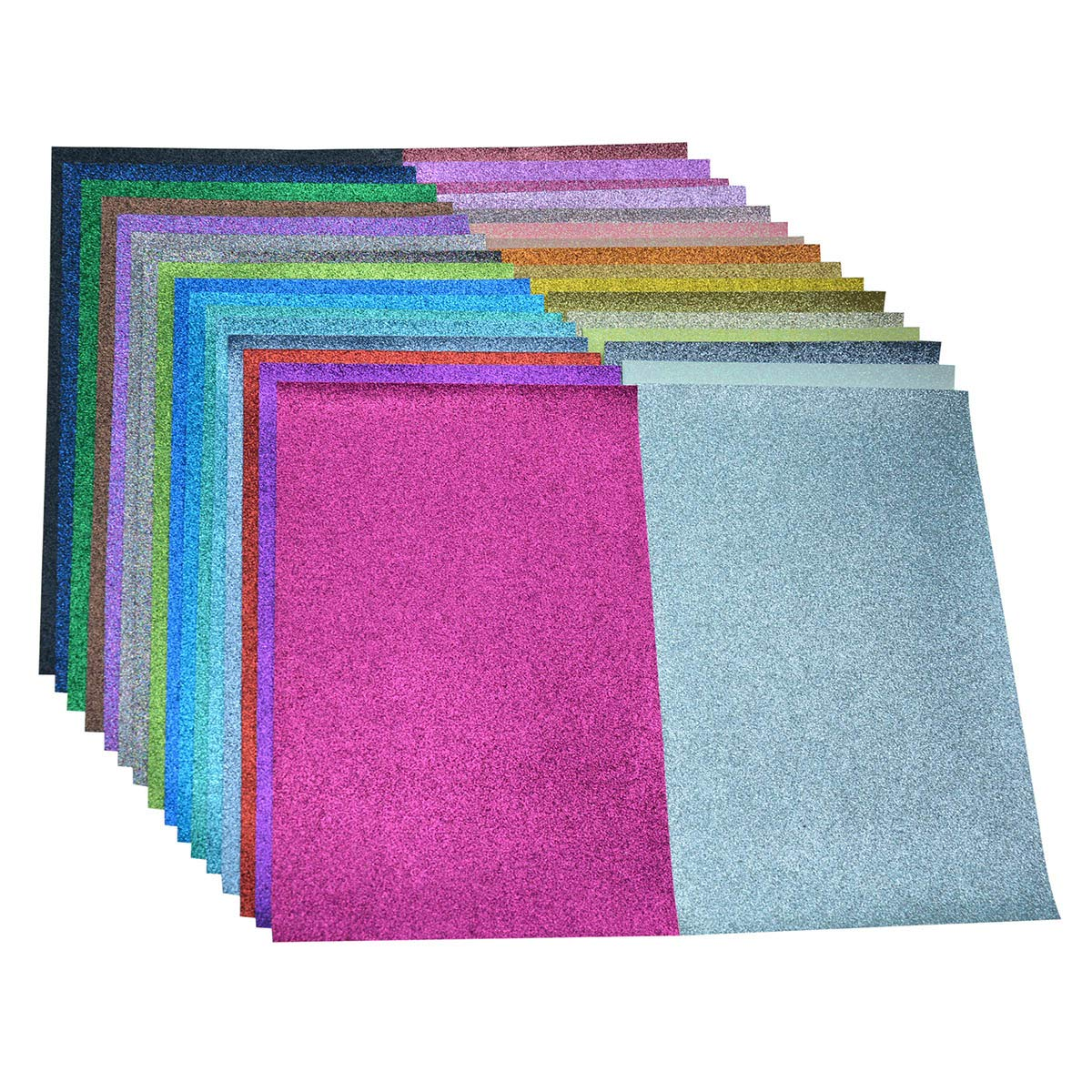 Faux Leather Glitter Canvas Sheets- 32 Pieces Assorted Colors A4 Size(8 X 12 Inch)Shiny Glitter Fabric Sheets for Bows, Earrings, Hair Accessories Making(32 Colors, Each Color One Sheet)