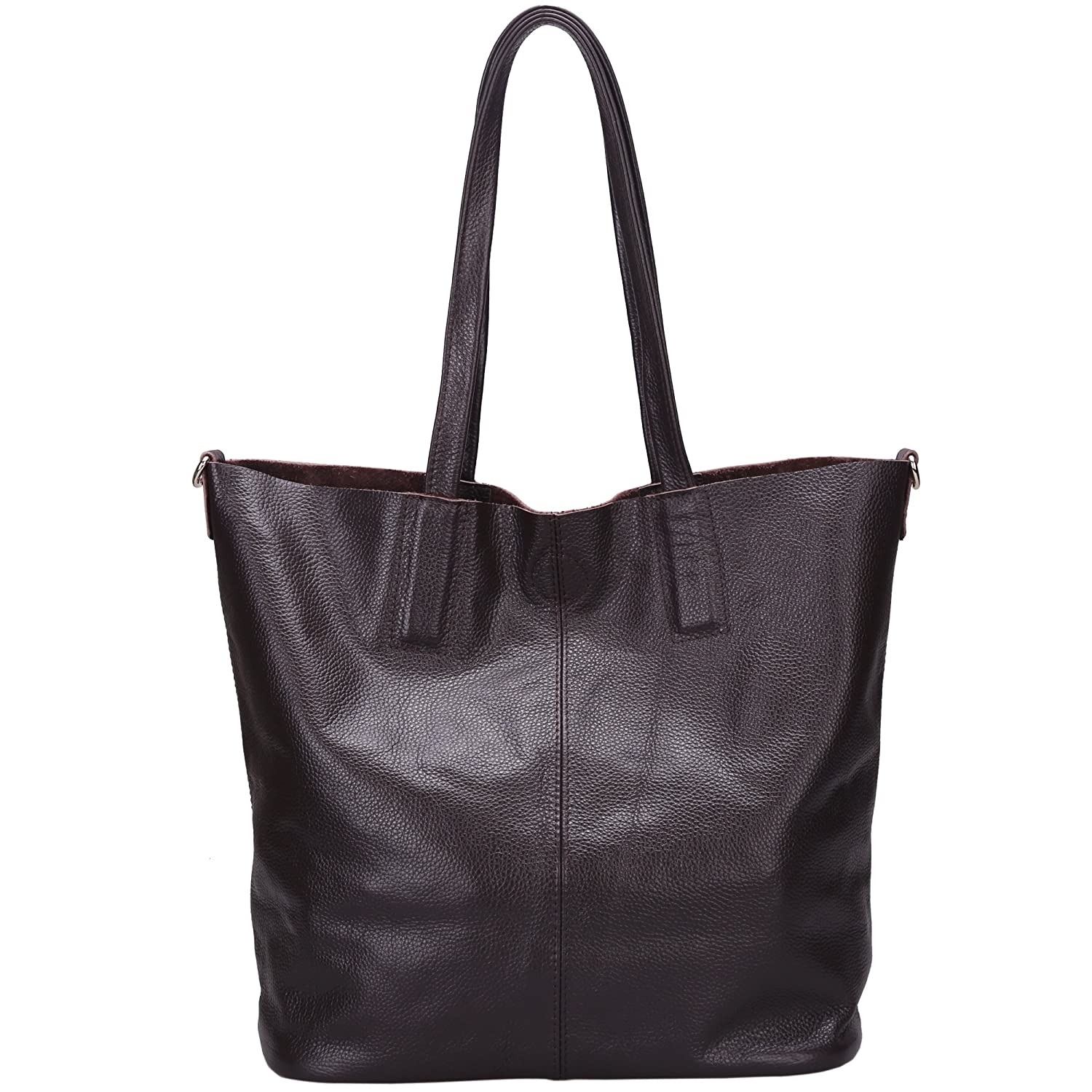 Damero Women's Soft Leather Tote Bag with Shoulder Strap