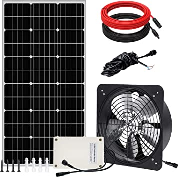 12.6in Fan Battery For Home Attic 100W Solar Panel Pumplus Max Airflow 3000CFM Solar Powered Roof Vent Fan System Shed Garage or Greenhouse Ventilation