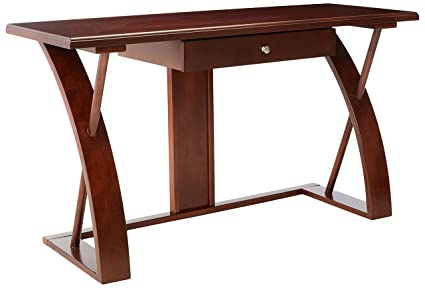 Beau Roundhill Furniture Solid Wood Computer Desk, Cherry Brown