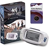 Neron Gold Walking 3D Pedometer: Best Walking Pedometer For Accurate Activity Fitness Tracking/Reliable 7-Day Memory For Step, Distance & Calorie Count/Reach Your Fitness Goals/Great Gifting Idea