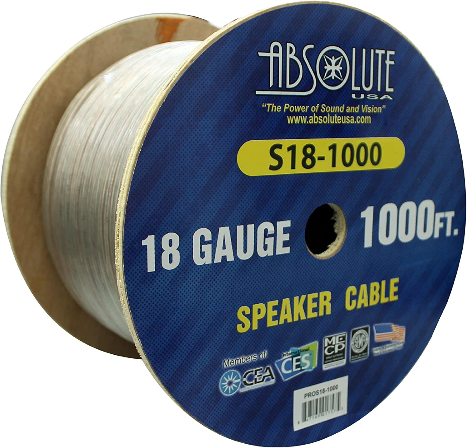 Absolute USA S181000 1000-Feet 18 Gauge Spool Speaker Wire