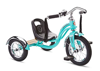 Schwinn Roadster Tricycle with Classic Bicycle Bell and Handlebar Tassels,  Featuring Retro Steel Frame and Adjustable Seat, for Children and Kids Ages