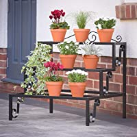 NAYAB Step Style 3 Tier 6 Pot Rectangular Plant Display Stand and Indoor/Outdoor Garden Corner Shelf for Flower Pots