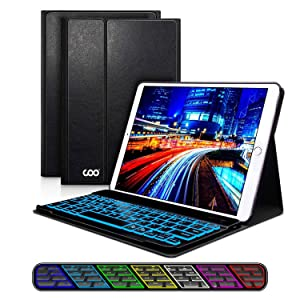 iPad Keyboard Case 9.7 for New iPad 2018 (6th Gen) - iPad Pro 2017 (5th Gen) - iPad Air 2/1, 7 Color Backlight Keyboard with Wireless Bluetooth, Magnetic Cover with Apple Sleep/Wake (Black)