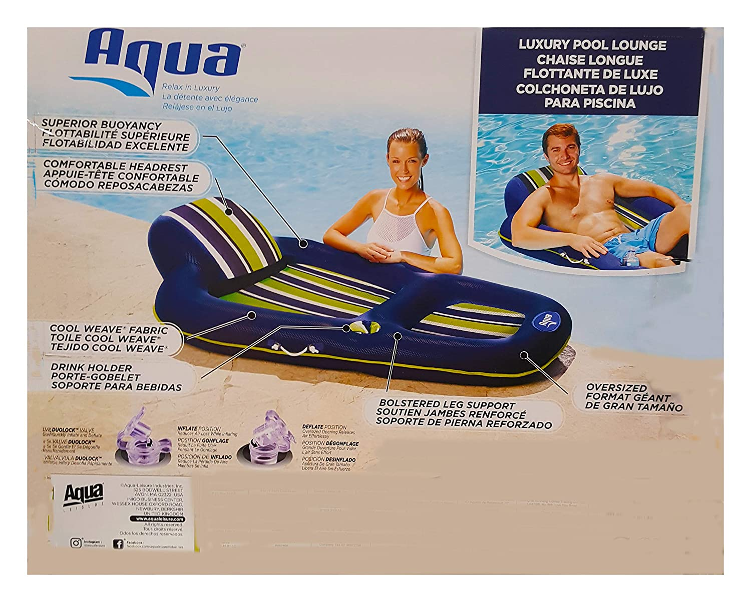 Aqua Luxury Lounger for Pool - Extra Long- Cup Holder, Superior Buoyancy, Built in Pillow, Breathable Cool Weave Fabric Extra Long 70 inches Long