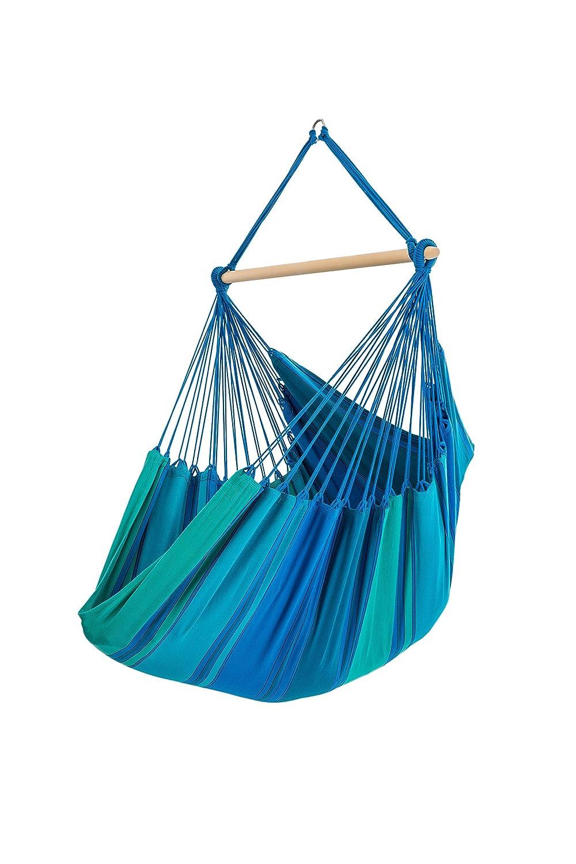 Hängesitz / Hängesessel XL, reine Baumwolle, 130 x 200 cm, 150 kg Tragfähigkeit, 120 cm Querholz Esche, in 8 Farben, inkl. Drehfeder und Spezialhaken, blau
