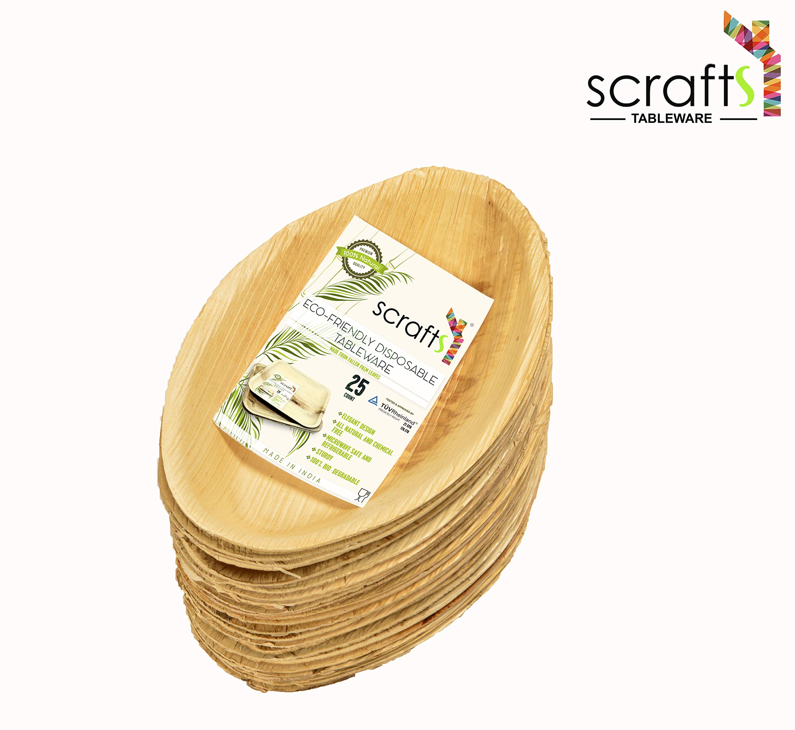 7'' x 3'' Round Disposable Palm Leaf Boat Bowls by Scrafts - Compostable,Biodegradable Heavy Duty Dinner Party Plate/Bowl - Comparable to Bamboo Wood - Elegant Plant Based Dishware: (50 Pack) by Scrafts (Image #2)
