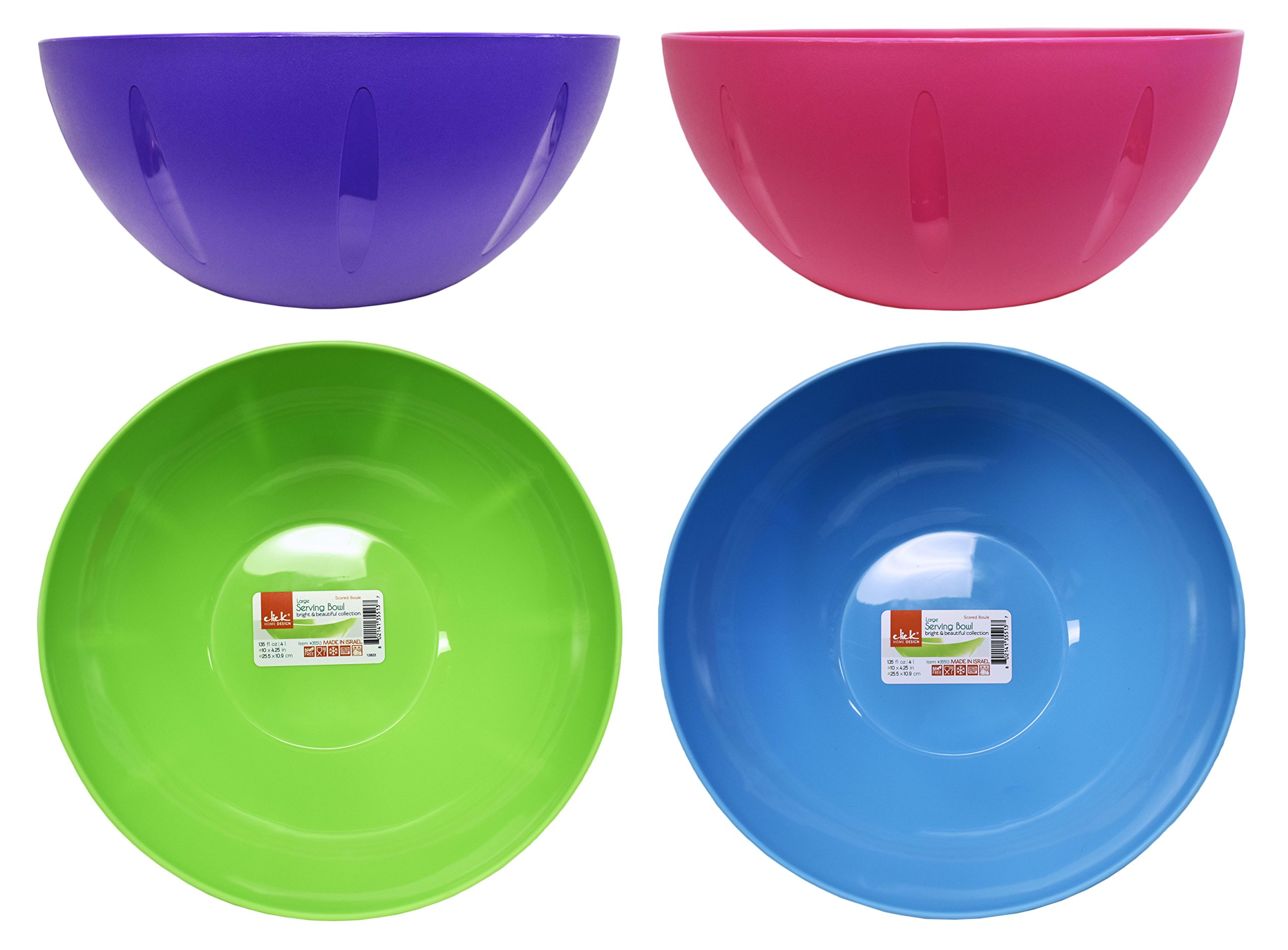 Set of 4 Click Home Design Serving and Mixing Bowls - Bright and Beautiful Collection - 7.8'' x 3.5'' - 57 Fluid Oz - Serving Bowls Perfect for Kitchen, Party, Event or Home! (4, Multi Set)
