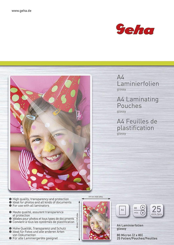 25 Pellicole Geha 86093380 Pouches Per Plastificazione A4-80 Micron