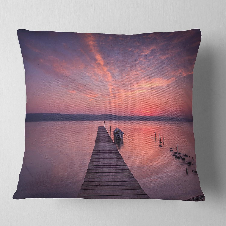 Designart CU8400-18-18 Wooden Pier Under Red Sky Throw Pillow 18 x 18