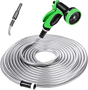 SPECILITE Heavy Duty 304 Stainless Steel Garden Hose 100ft, Outdoor Metal Water Hoses with Nozzle & 10 Pattern Spray Nozzle for Never Kink & Tangle, Puncture Resistant, Flexible, Portable