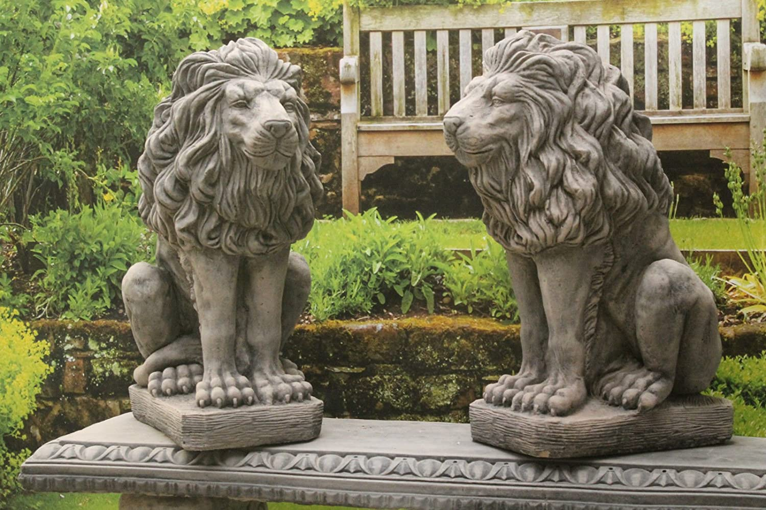 Ornate stone pair of sitting lions garden ornaments bronze finish ...