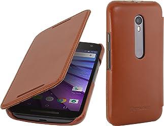 StilGut Book Type Case Senza Clip, Custodia in Vera Pelle per Motorola Moto G, Cognac