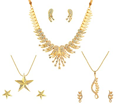 Bridal & Wedding Party Jewelry Radient Twotone Ad Stone Star Design Pendant Earrings Set Traditional Party Jewellery