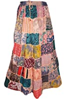 Mogul Interior Womens Hippie Maxi Skirt Colorful Patchwork Drawstring Large