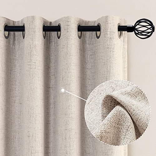 jinchan Linen Textured Beige Drapes Grommet Top 95 inch Length Blackout Curtains Living Room Bedroom Window Treatment Heavy Weight 2 Panels - the best window curtain panel for the money
