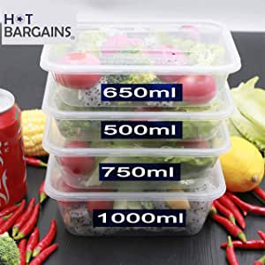 Amazon Com 50 X Clear Plastic Takeaway Food Containers
