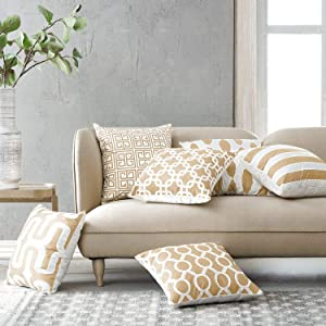 Modern Homes 100% Cotton Beige Decorative Throw Pillow Covers Cushion Cases 18 x 18 inch (Beige, Set of 6)