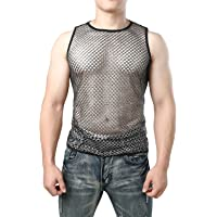 JOGAL Men's Mesh Fishnet Fitted Muscle Top