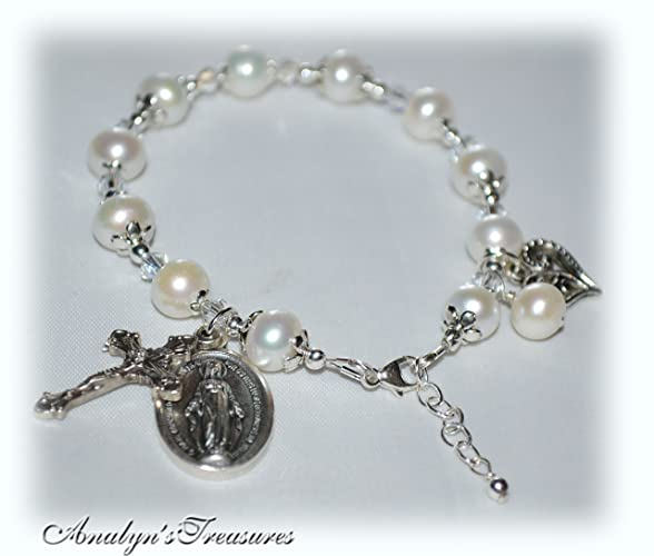 Amazon Com Pearl Rosary Bracelet Fresh Water Pearls Sterling