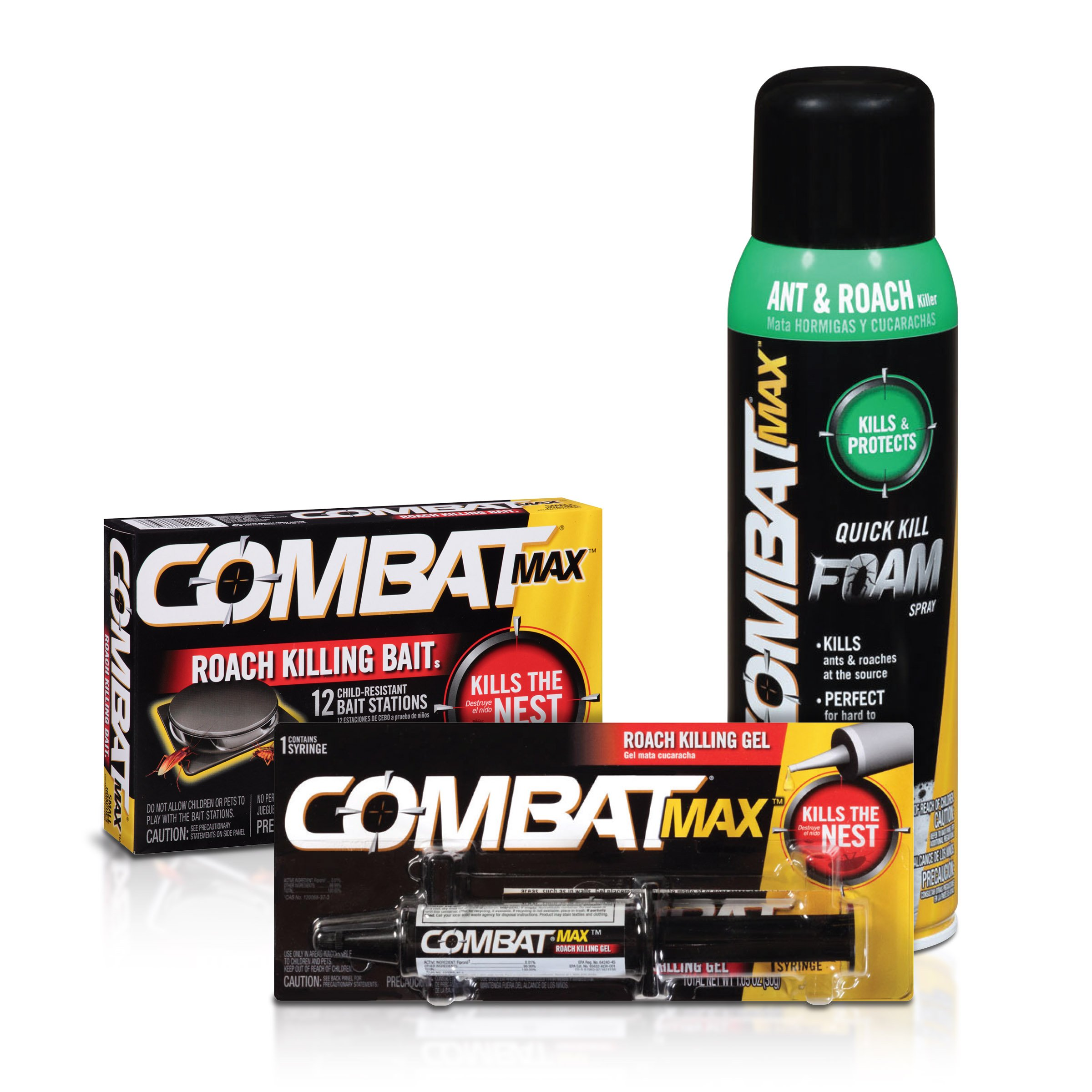 Combat Max Small Roach Control Products - Bait, Gel, and Foam Spray by Combat